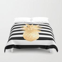 Gold Pineapple Black and White Stripes Duvet Cover