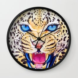 Snow Leapord's Prowl Wall Clock