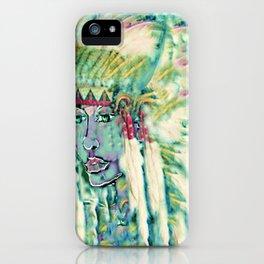 Blue green Indian Maiden headress by ladykashmir iPhone Case