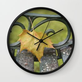 Maple Leaf on Bench Wall Clock