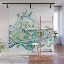 Crashing Wave Tangle - White Wall Mural