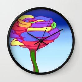 Rainbow Flower, Blue Background Wall Clock