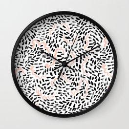 Katli - abstract dots swirls minimal black and white pastel pink pattern decor Wall Clock