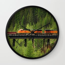 BNSF Going Over Goat Lick Creek Wall Clock