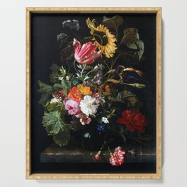 Maria van Oosterwyck Bouquet of Flowers in a Vase Serving Tray