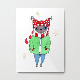 Cute Siamese Cat in Winter Scarf, Hat, Mittens, and Coat Metal Print