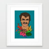 tom selleck Framed Art Prints featuring Mr. Selleck by Beth Austin
