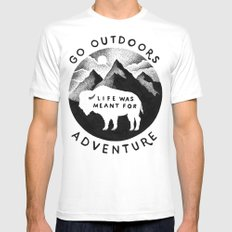 OUTDOORS LARGE White Mens Fitted Tee