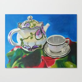 Tea Set on Fabric Canvas Print