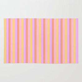 Hibiscus Hawaiian Flower Cabana Stripes in Pink, Yellow, Peach and Lilac Rug