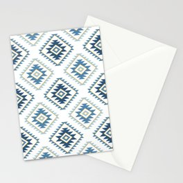 Aztec Style Motif Pattern Blues White Gold Stationery Cards