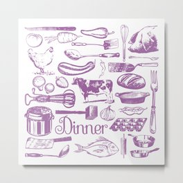 Retro Dinner - White Metal Print