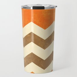 Orange, Brown and Cream Chevron Travel Mug
