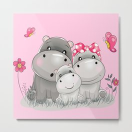 adorable hippos Metal Print