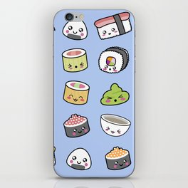 Happy kawaii sushi pattern iPhone Skin