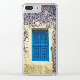 blue shutter window in yellow building with creeping vines Clear iPhone Case