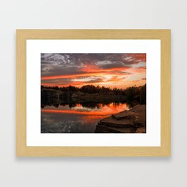 Sunset at Halibut Point Quarry Framed Art Print