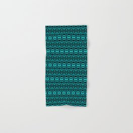 Abstract Pattern Dividers 07 in Turquoise Black Hand & Bath Towel