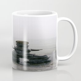 Stone Inukshuk on The Shore Looking Out Over Calm Water ~ A Meaningful Messenger Coffee Mug