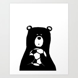 Bear Black Soccer - Nursery Boys Art Print