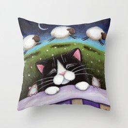 Cat - Sheep Dreams Throw Pillow