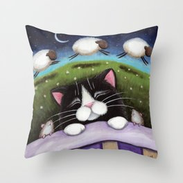 Cat - Sheep Dreams Throw Pillow