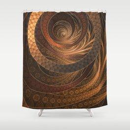 Earthen Brown Circular Fractal on a Woven Wicker Samurai Shower Curtain