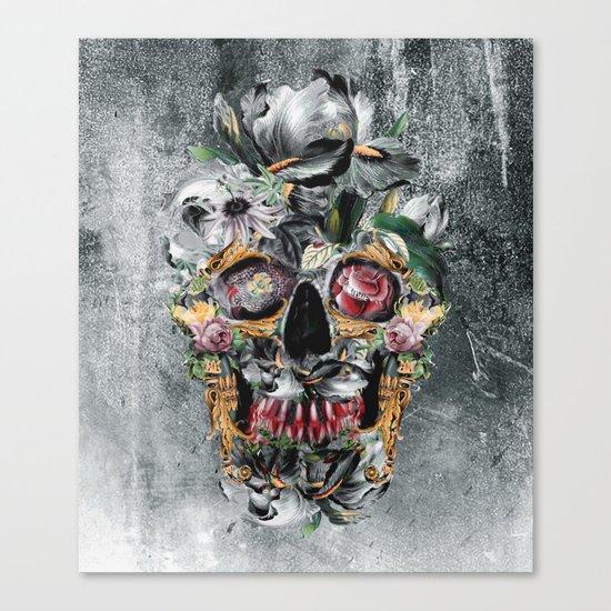Skull on old grunge III Canvas Print