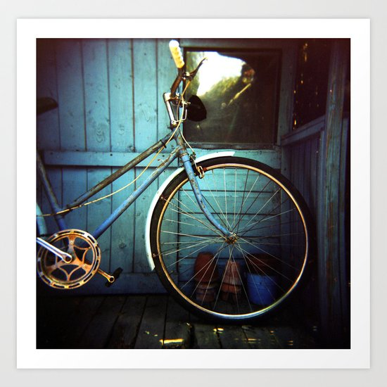 Bluebell the blue bicycle Art Print