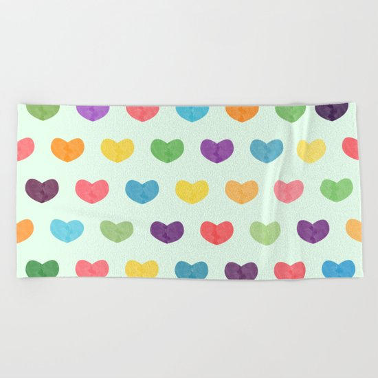 Colorful hearts Beach Towel