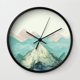 Mountains Landscape Watercolor Wall Clock