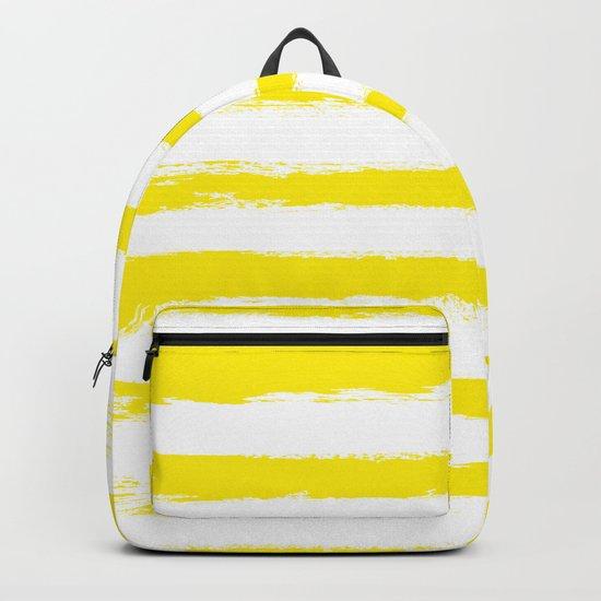 Sunny Yellow STRIPES Handpainted Brushstrokes Backpack