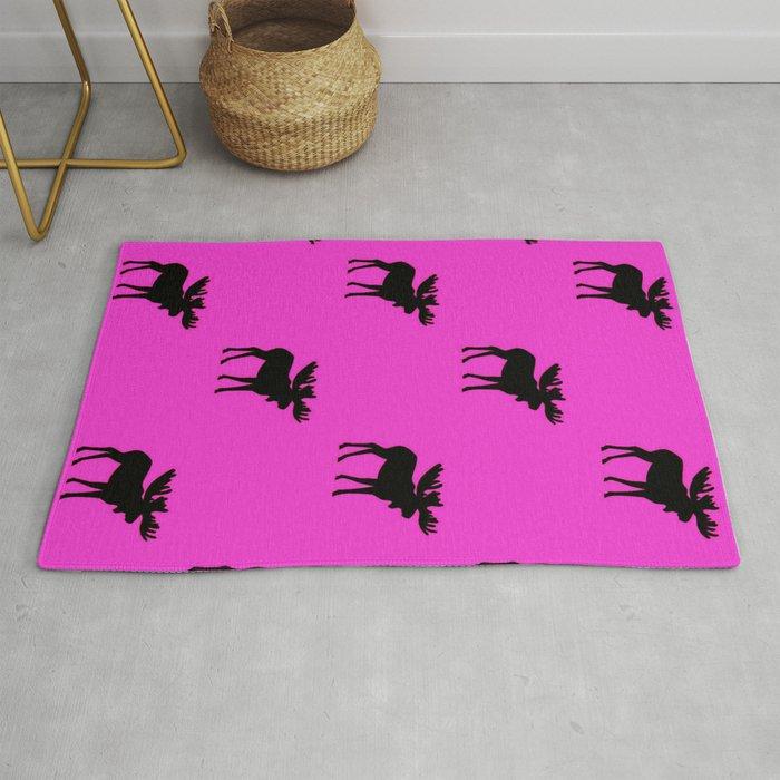 Bull Moose Silhouette - Black on Pink Rug
