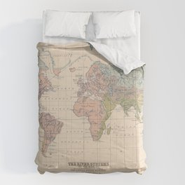Vintage River Systems World Map (1852) Comforters