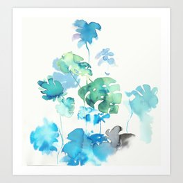 Tropical leaves, (collab Dylan Silva!) Art Print