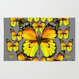 CLUSTER YELLOW-BROWN  BUTTERFLIES GREY  DESIGN Rug