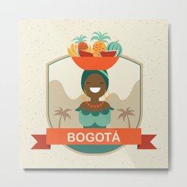 Bogota Retro Badge Metal Print
