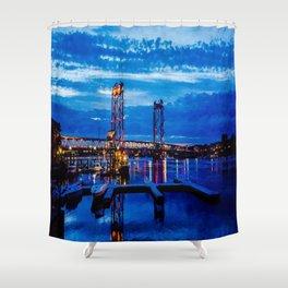 Night Bridge Lights Shower Curtain