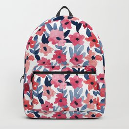 Layered Watercolor Floral Pink and Navy Backpack
