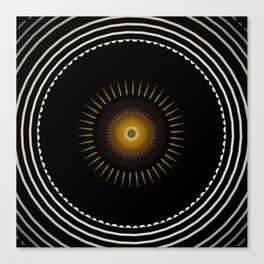 Modern Circular Abstract with Gold Mandala Canvas Print