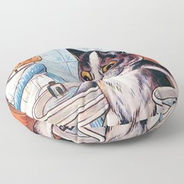 'Oh my geez, Louise' - Giving a Cat a Pedicure Humorous Cat Print by Lous Wain Floor Pillow