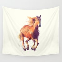 horse Wall Tapestries featuring Horse // Boundless by Amy Hamilton