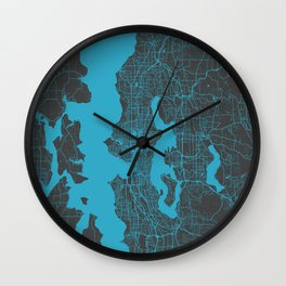 Seattle map blue Wall Clock