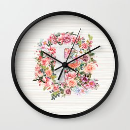 Initial Letter F Watercolor Flower Wall Clock