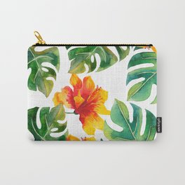 Monstera And Hibiscus Carry-All Pouch