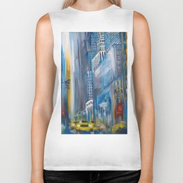 Rain in the city Biker Tank