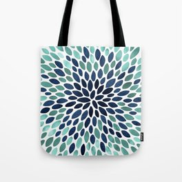 Flower Bloom, Aqua and Navy Tote Bag