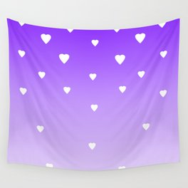 Purple Ombre with White Hearts Wall Tapestry
