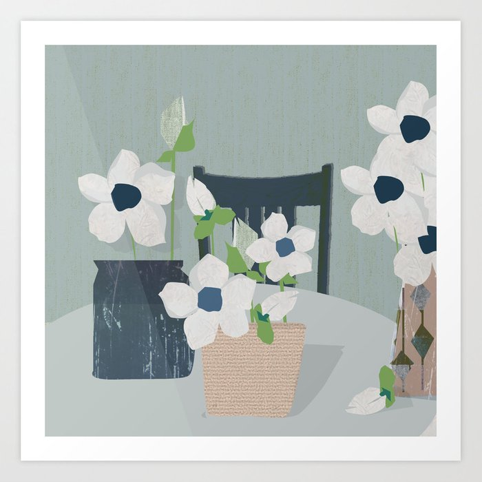 Flowers on the table spring blooms helebores Art Print
