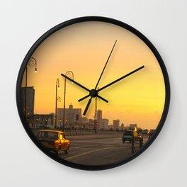 Sunset in La Habana Wall Clock